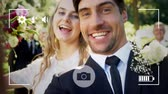 husband : Animation of a young Caucasian bride and groom taking a selfie with wedding guests in the background, seen on a screen of a smartphone in picture mode with icons in the foreground