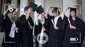 fotoframe : Animation of a group of Caucasian students graduating and celebrating throwing their hats in the air, seen on a screen of a smartphone in picture mode with icons in the foreground