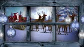 oslava : Animation of winter scenery seen through window, with a waving Santa Claus in sleigh with reindeers, snowfall and baubles Dostupné videozáznamy