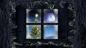 oslava : Animation of winter scenery seen through window, with Santa Claus in sleigh being pulled by reindeers, snowfall, moon and fir tree
