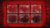 oslava : Animation of winter scenery seen through window, with snowfall on a red background