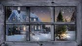 śnieg : Animation of winter scenery seen through window, with Christmas tree, snowfall, house and a shooting star