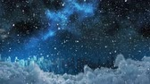色 : Animation of winter scenery at night with snowfall over cityscape and cloudy sky