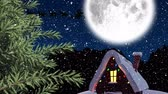 śnieg : Animation of winter scenery at night with Santa Claus in sleigh being pulled by reindeers, snowfall, moon and house