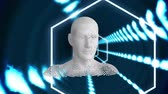 tunel : Animation of moving human bust formed from grey particles in a glowing blue tunnel with moving hexagons Dostupné videozáznamy