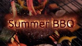 ohnivý : Animation of the words Summer BBQ in flames with meat and vegetables being grilling the background Dostupné videozáznamy