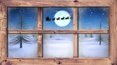 色 : Animation of winter scenery seen through window, with Santa Claus in sleigh being pulled by reindeers, snowfall, moon and fir trees
