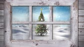 色 : Animation of winter scenery seen through window, with snowfall and Christmas tree