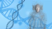 geny : Animation of spinning 3d DNA strand with human body formed from grey particles on a blue background Wideo