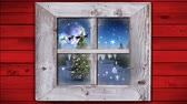 色 : Animation of winter scenery seen through window, with Santa Claus in sleigh being pulled by reindeers, snowfall, moon and fir tree