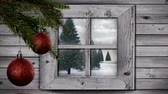 śnieg : Animation of winter scenery seen through window, with snowfall, red baubles and fir trees