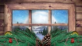 Рождество : Animation of winter scenery seen through window, with snowfall and Christmas decoration