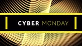hullám : Animation of the words Cyber Monday in white and yellow letters with yellow waving lines on a black background