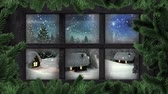 色 : Animation of winter scenery seen through window, with snowfall, houses and fir trees 動画素材