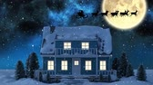 Рождество : Animation of winter scenery at night with Santa Claus in sleigh being pulled by reindeers, snowfall, moon and house