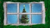 drzewo : Animation of winter scenery seen through window, with snowfall and a rotating Christmas tree
