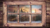 śnieg : Animation of winter scenery seen through window, with snowfall and fir trees