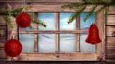 śnieg : Animation of winter scenery seen through window, with snowfall and red baubles