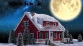 色 : Animation of winter scenery at night with Santa Claus in sleigh being pulled by reindeers, snowfall, moon and house