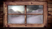 śnieg : Animation of winter scenery seen through window, with snowfall in countryside Wideo