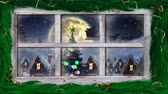 Рождество : Animation of winter scenery seen through window, with Santa Claus in sleigh being pulled by reindeers, snowfall, moon and Christmas tree