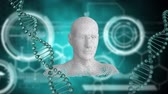 biochemie : Animation of spinning 3d DNA strands with human head appearing and disappearing and white circles on a green background