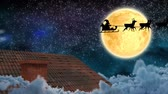 色 : Animation of winter scenery at night with Santa Claus in sleigh being pulled by reindeers, shooting star, moon and house