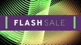 kelime : Animation of the words Flash Sale in white and green letters on a purple banner with curved lines in the background Stok Video