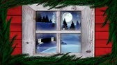 色 : Animation of winter scenery seen through window, with snowfall, moon and houses