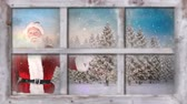 śnieg : Animation of winter scenery seen through window, with snowfall, Santa Claus and fir trees