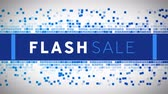 renk : Animation of the words Flash Sale in white and blue letters on a blue banner and blue mosaic tiles moving on a white background Stok Video