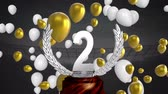stadyum : Animation of a silver 2nd place trophy with white and gold balloons floating at a sports stadium