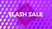kelime : Animation of the words Flash Sale in white letters on a purple diamond shaped grid with movingï¿'ï¾ graphicï¿'ï¾ shapes on a multi coloured background