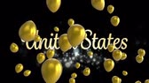 色 : Animation of the words United Sataes written in gold letters with silver sparkles and shiny gold balloons floating up on a black background