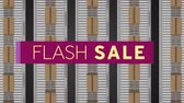 renk : Animation of the words Flash Sale in cream letters on a dark pink banner with an overhead view of movingï¿'ï¾ parcels on conveyor belts in background Stok Video