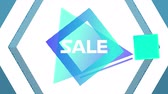 色 : Animation of the word Sale in white letters on a blue traingle and square with movingï¿'ï¾ white and blue hexagons on a purple background