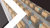 karton : Animation of  a white arrow with white dots and blue arrows over rows of cardboard boxes moving on conveyor belts