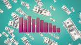 global market : Animation of falling dollar bills and a 3D pink block graph on a blue background