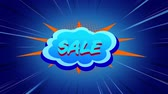 renk : Animation of the word Sale in blue and red letters on a turquoise cloud with movingï¿'ï¾ lines on a blue background Stok Video