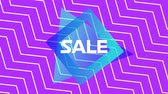 zeichentrick : Animation of the word Sale in white letters on a blue traingle and square with movingï¿'ï¾ white zigzag pattern on a purple background