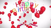 Animation of the words Happy Birthday in changing colurful letters bursting out of a white gift box with a red ribbon, with floating shiny red balloons on a white background