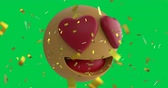 comique : Animation of a love emoji icon with heart eyes on a green screen background with falling gold confetti 4k Vidéos Libres De Droits