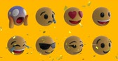 Animation of eight emoji icons on a yellow background with falling gold confetti 4k Stockvideo