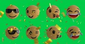 slzy : Animation of eight emoji icons on a green screen background with falling gold confetti 4k Dostupné videozáznamy