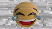 comique : Animation of a laughing LOL emoji icon on a pale background with interference Vidéos Libres De Droits