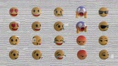 comique : Animation of twenty emoji icons on a pale background with interference Vidéos Libres De Droits