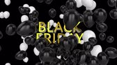 cena : Animation of the words Black Friday in yellow letters with black and white balloons on a black background Dostupné videozáznamy