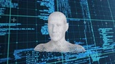 geny : Animation of moving human bust formed from grey particles and data processing on a dark blue background
