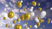zeichentrick : Animation of white and gold balloons floating with blue sky and clouds in the background Stock Footage