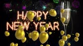Animation of the words Happy New Year in glittering letters with gold balloons floating, confetti falling, fireworks and a glass of champagne on a black background